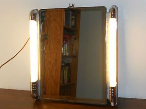 Antique Vintage Art Deco Chrome Metal Lighted Mirror Bathroom Medicine Cabinet