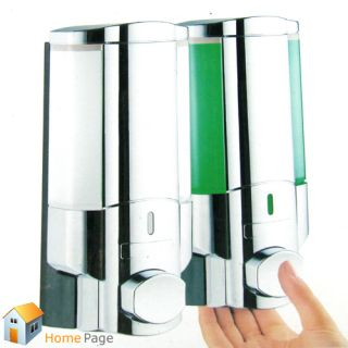 Chrome Twins Soap Lotion Dispenser Home Kitchen Bathroom Shower Wall Mount Stand