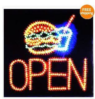 Ultra Bright LED Neon Light Animated Motion Hamburger Burger Open Sign L74