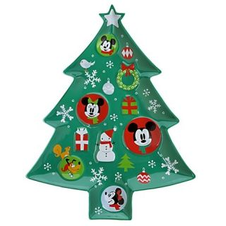Disney Holiday Platter Tray Pluto Mickey Minnie Mouse Christmas Tree Plate Cute