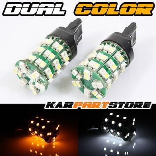 2X 60 SMD LED Wedge Lights Bulbs White Amber Parking Turn Signal Tail Side Lamps