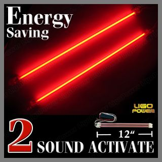 "2X 12"" Neon LED Sound Effect Control Music Light Red AU"