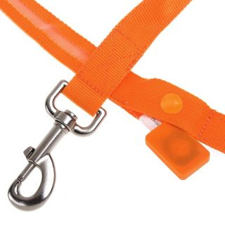 Glow LED Flashing Light Dog Pet Belt Harness Lead Leash Tether Orange New
