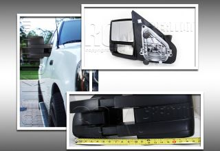 04 11 Ford F150 Pickup Truck Trailer Tow Towing Manual Mirrors Set