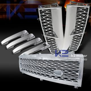 03 05 Range Rover L322 Chrome Mesh Hood Grille Side Vent Door Handle Covers Kit