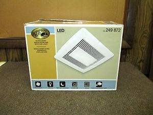 Hampton Bay White Ventilation Fan w LED Light Night Light 249 872 Lot 5632