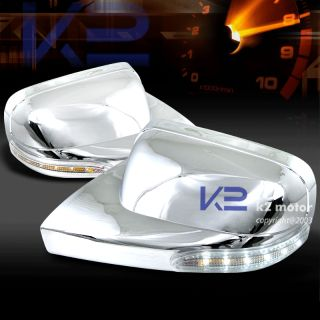 2005 2013 Ford Mustang Chrome Side Mirror Cover with White LED Lights