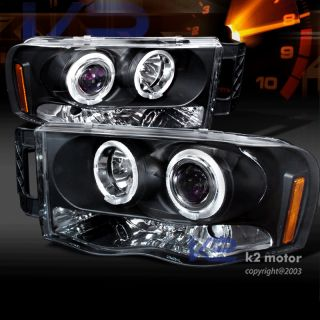 2002 2005 Dodge RAM 1500 Halo Projector Headlights Black Pair