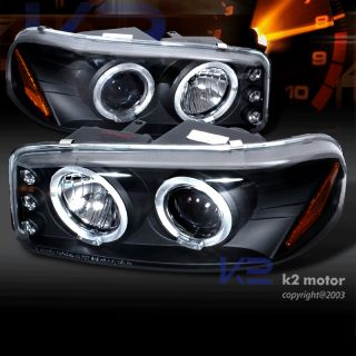 1999 2006 GMC Sierra Denali Yukon XL LED Halo Projector Black Headlights