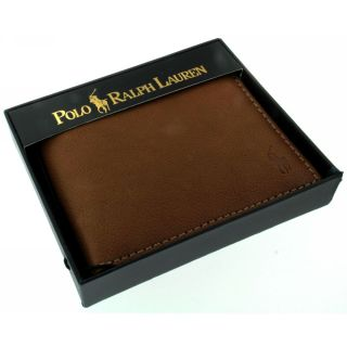 Polo Ralph Lauren Brand New Mens Cognac Leather Passcase Wallet Fast Shipping