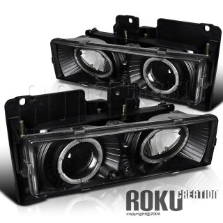 Black 92 99 GMC Chevy Suburban Dual Halo Projector LED Headlights Lamps