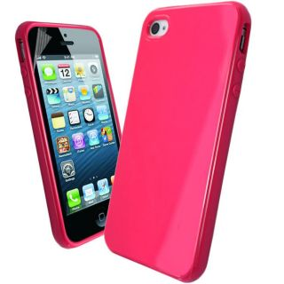 New Solid Glossy Silicone Gel Case Cover for Apple iPhone 4S Screen Protector
