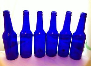 6 Cobalt Blue Glass Beer Bottles Vase Craft Art Garden Tree Wedding Decor