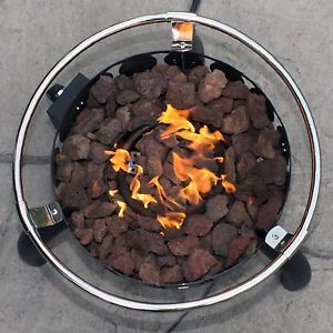 New Sportman Portable LP Gas 55 000 BTU Outdoor Ring Fire Pit w Lava Rocks