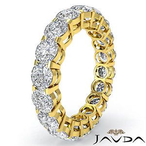 Shared Prong Round Diamond Eternity Wedding Band Women Ring 18K Yellow Gold 3 6C
