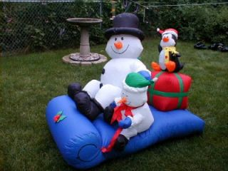 RARE Gemmy Airblown Inflatable Snowman Penguins on Sled 4 ft Long
