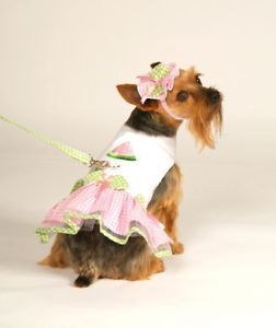 Dog Clothes Watermelon Harness Dress with Leash Sizes XXS Large Set Yorkie