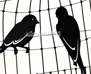 N4U8 New Cute Black Bird Cage Wall Peel Stick Living Room Wallpaper Deco Sticker
