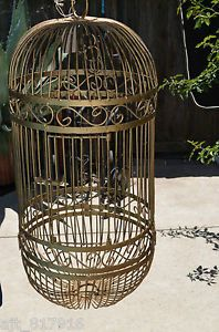 "Vintage Large Gold Oval Hanging Bird Cage 36"" x 20"" Beautiful Detail"