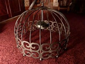 Vintage Ornate Mod Black Metal Bird Cage Hanging Light Fixture