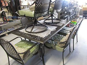 Hampton Bay Fall River 7 PC Dining Set Outdoor Furniture Heavy Metal Table