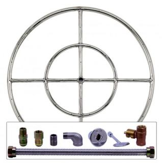 "24"" Round Double Stainless Steel Fire Pit Burner Ring Kit for Propane LP Gas"