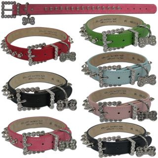 Spiked Spikes Studded Rhinestone Dog Pet Puppy PU Leather Collars Small Large