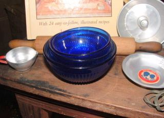 Child's Cobalt Depression Blue Glass Mixing Bowl Set