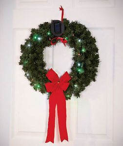"18"" Solar Power Holiday Wreath Door Outdoor Decor Christmas Holiday Color Lights"
