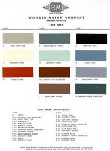1952 Ford Paint Color Sample Chips Card Colors