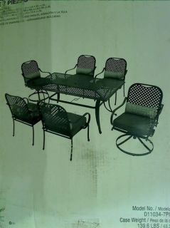 Hampton Bay Fall River Patio Dining Set with Moss Cushions