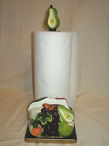 New Ceramic 3D Fruits Pear Paper Towel Napkin Holder Stand Dispenser w Topper