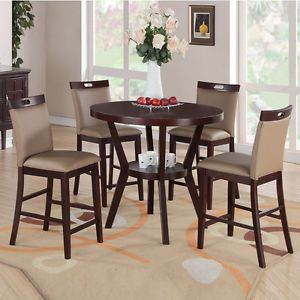 5 PC Trendy Espresso Round Table Saddle Parson Chair Counter Height Dining Set