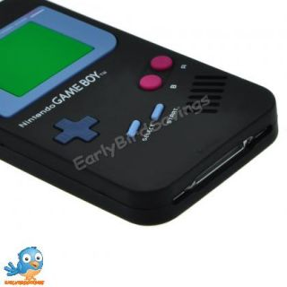 Black Game Boy Style Silicone Case Cover Skin for iPhone 4 and 4S 4GS
