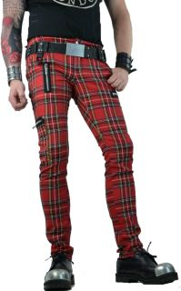 Tripp Royal Bones Red Plaid Exploited Punk Oi Tattoo Steampunk Gothic Emo Pants