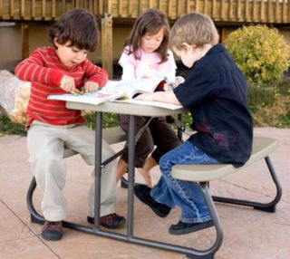 New Kids Size Folding Picnic Table Lifetime Outdoor Indoor Daycare Table Seats 4