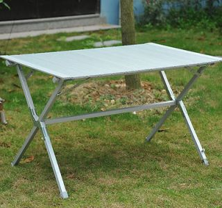 Outdoor Portable Camping Table Rectangle Aluminum Roll Up Table Picnic Table