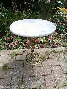Vintage Art Deco Plant Stand Marble Top Brass Stand