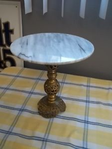 Vintage Small Price Products Marble Top Cast Metal Mini Table Plant Cake Stand