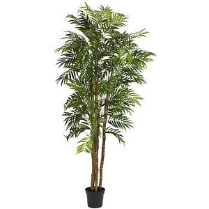 Large 6' Realistic Fake Artificial Silk Bella Palm Tree Plant Bamboo Style Trunk