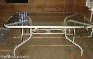 Large Outdoor Patio Porch Deck Glass Top Table Metal Frame with Umbrella Holder
