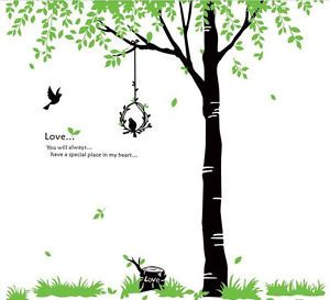 Vinyl Home Art Mural Love Bird Nest Tree Spring Leaf Plant Wall Sticker Grass