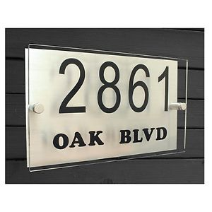 Modern Aluminum Acrylic House or Office Address Door Number Plaque Sign