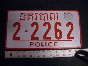Cambodia Police License Plate Car Laos Japanese European Foreign Number Army