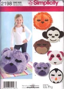 Simplicity Pattern 2198 Fleece Animal Face Pillows New