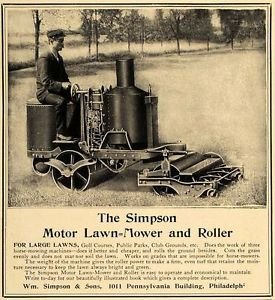 1906 Ad Antique Simpson Motor Lawn Mower Roller Riding Original Advertising