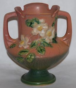 Roseville Pottery White Rose Pink Vase 146