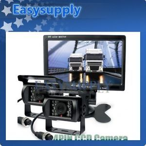 2X Night Vision CCD Rear View Camera Kit Monitor System for Bus Houseboat Truck