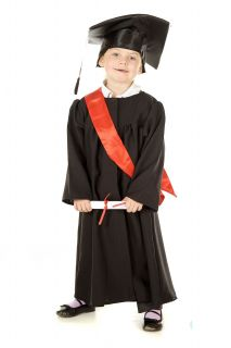 Children's Kids Boys Girls Graduation Gown Cap Fancy Dress Up Costume Outfit