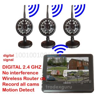 Outdoor Wireless 3 CCTV Surveillance Security Camera System Nightvision DVR SD